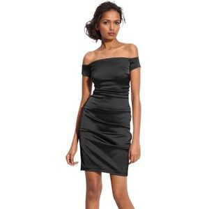 Black off the shoulders, fitted formal dress